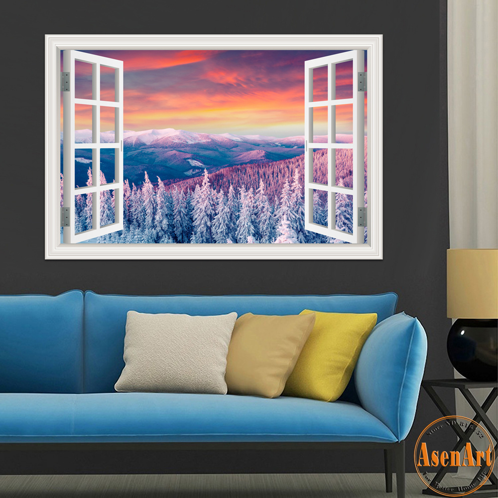 Buy 3d window wall stickers home decor for Winter wall murals