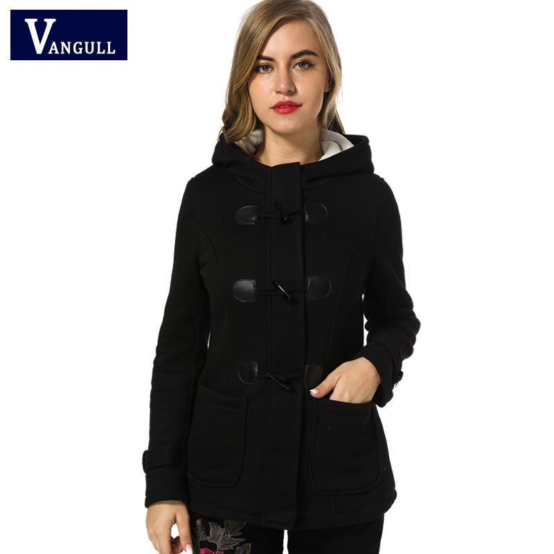 Winter Coat Women 2017 New Fashion Women Ull Blends Slim Hooded Collar Glidelås Horn Button Long Coats Outerwear Special Button