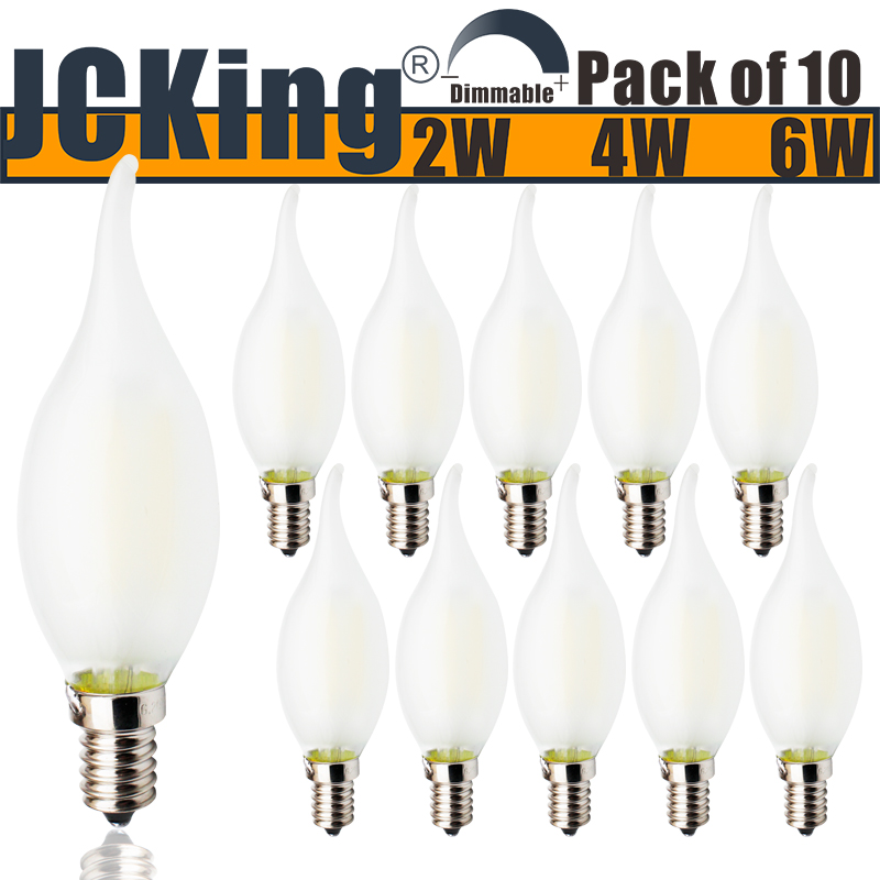Us 16 19 10 Off Jcking Dimmable 220v E14 Led Filament Vintage Light Bulb Frosted Flame Bulbs Ses For Chandeliers In
