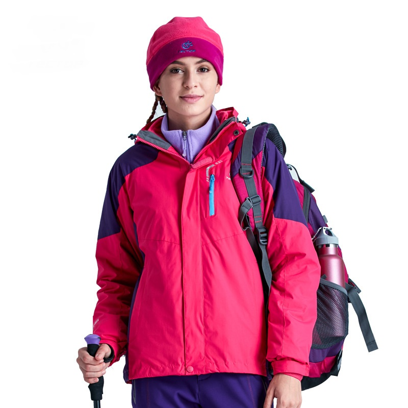 Winter Women 3 in 1 Hiking Jackets Girls Outdoor Sport Waterproof Thermal Two-piece Coats For Travelling Skiing Hiking S-XXXL 2017 new couple outdoor sports jackets men s three in one excursions hiking hooded women s two piece ski clothes fishing hunting