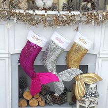Brand New Merry Christmas Holiday Mermaid Stocking Hanging Bag Gift Holders Xams Tree Ornament Decor Faddish