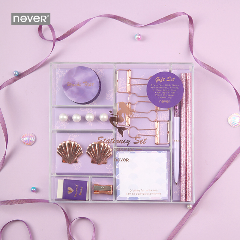 Never Mermaid Series Christmas Stationery Set Binder Paper Clips Ballpoint Pen Memo Pad Washi Tape Business Office Gift Sets