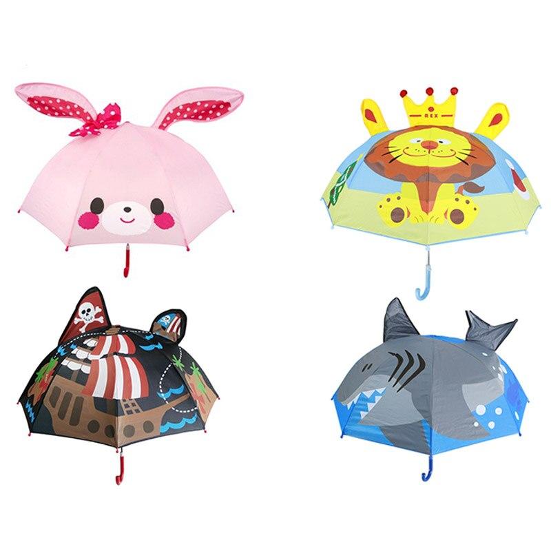 dd7e06650ec06 Cute Cartoon Children Umbrella Animation Creative Long Handle Windproof Umbrella  3D Ear Animal Kids Pink Umbrella