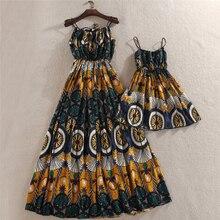 Платье для мамы и дочки; Семейный комплект одежды для мамы и дочки; женские Платья с цветочным принтом; детское платье для девочек; летние женские платья
