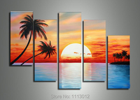 High Quality Yellow Sunset Palm Trees Oil Painting On Canvas 5Pcs Sets Wall Art Picture For Living Room Home Decoration Modern