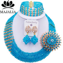 Majalia Luxury African Jewelry Set Lake blue and Gold ab Crystal Bead Bride Jewelry Nigerian Wedding African Jewelry Sets 5AS020(China)