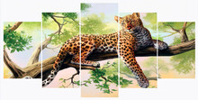 5 Piece Painting on the Wall in Living Room Tree Leopard Cuadros Decoracion Picture For Home Decor Art