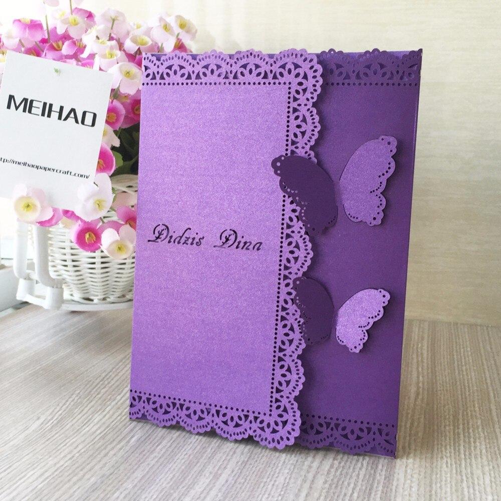 50pcs Vintage Wedding Invitation Cards, Unique Butterfly Open Lace ...