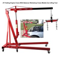 Engine Crane With Balancer 2T Folding Hydraulic Workshop Crane Mobile Car Lifting Tool Vehicle Repair Accessories