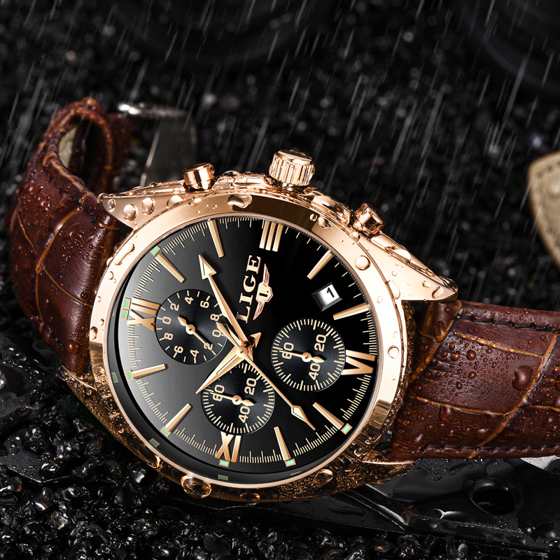 LIGE Sport Luminous Chronograph Watch with Leather Band 1