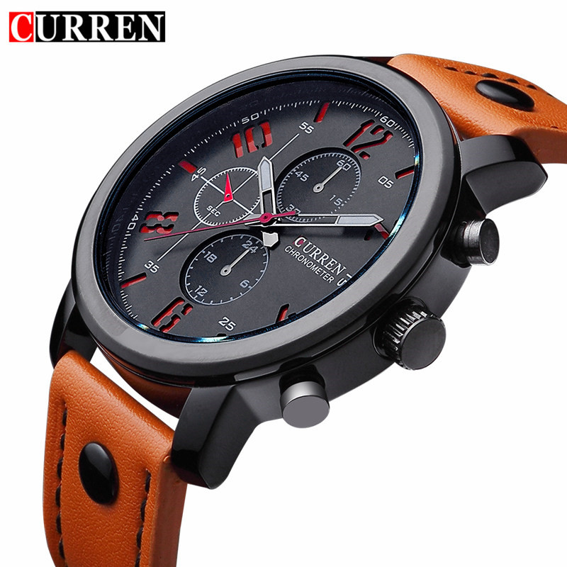 Curren 8192 Mens Watches Top Brand Luxury Quartz Men Watch Male Casual Sport Clock Waterproof Men's Wristwatch Relogio Masculino 2016fashion top luxury brand unique vogue mens quartz watches wooden outdoor sport watches clock casual wood watch
