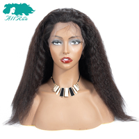 AllRun Peruvian Lace Front Human Hair Wigs For Women Non Remy Hair Kinky Straight Lace Frontal Closure Wigs With Baby Hair