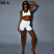 Kliou new women Reflective short two pieces sets silver Active Wear strapless short sporting bra elastic