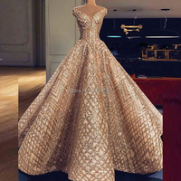 Shining Sequined Unique Fabric Ball Gown Formal Evening Dresses with V Neck Long Trouwjurk Abendkleider Prom Gowns Cap Sleeves