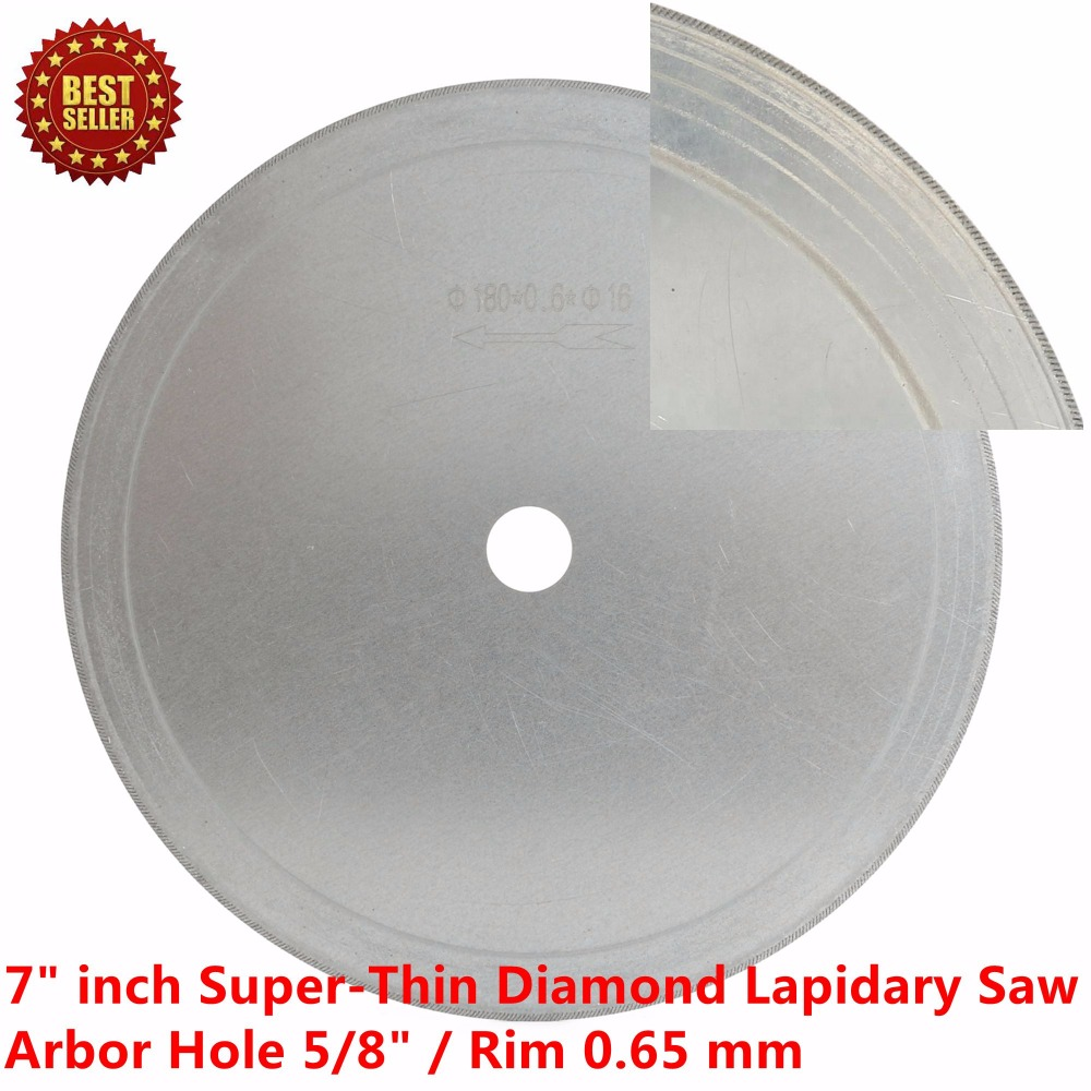 "Купить с кэшбэком 7"" inch Super-Thin Arbor Hole 16mm 5/8"" Rim 0.65mm Diamond Saw Blades Lapidary Cutting Disc Jewelry Tools for Stone Gemstone"