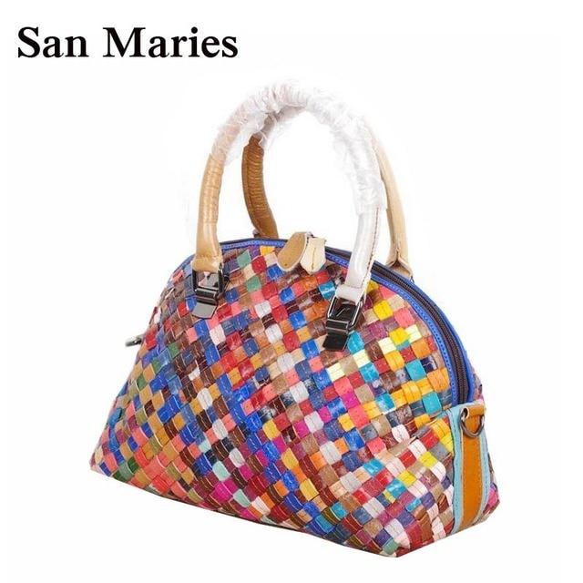 Women Leather Handbag Fashion Colorful Messenger Bags Shell Bag Genuine Handbags Cross Body