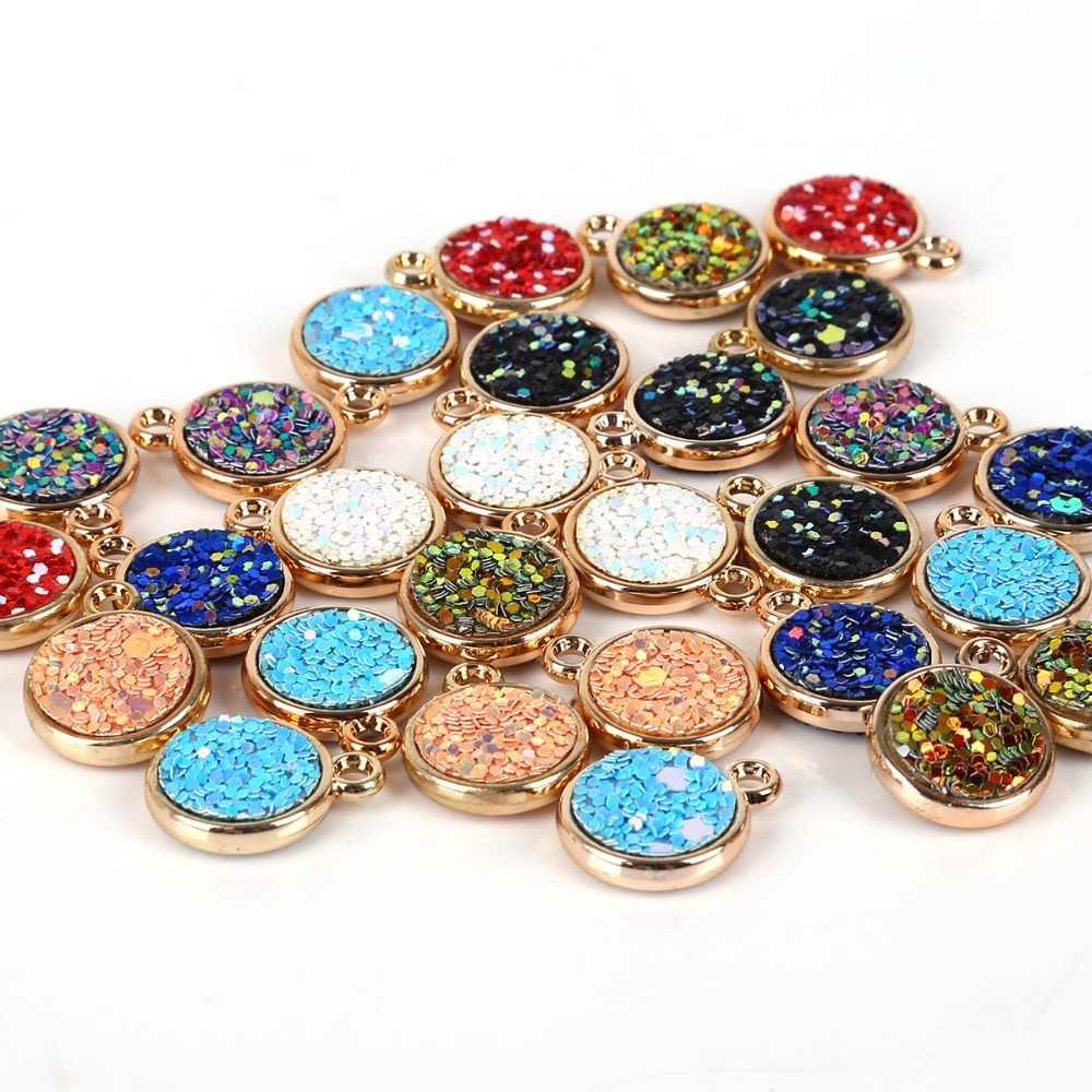 6 Stks/partij Ronde Drop Shape Resin Glittering Charms Hanger Fit Armband Diy Ambachtelijke Sieraden Accessoires Gouden-Kleur Goud Base