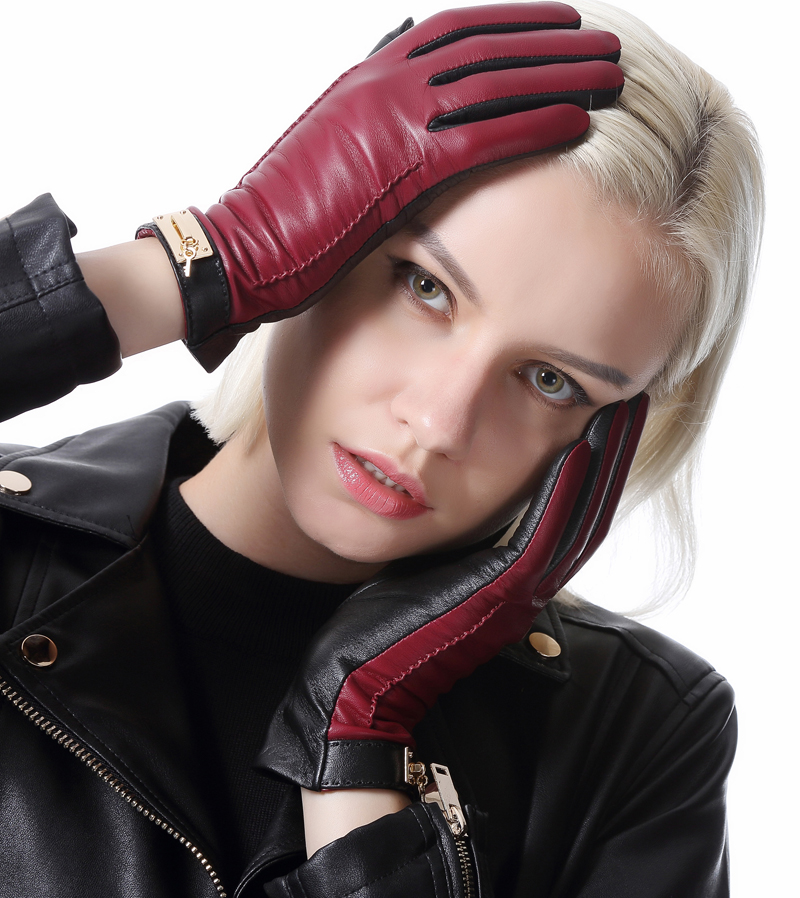 calharmon fashion winter warm combined color touch screen top leather gloves black burgundy