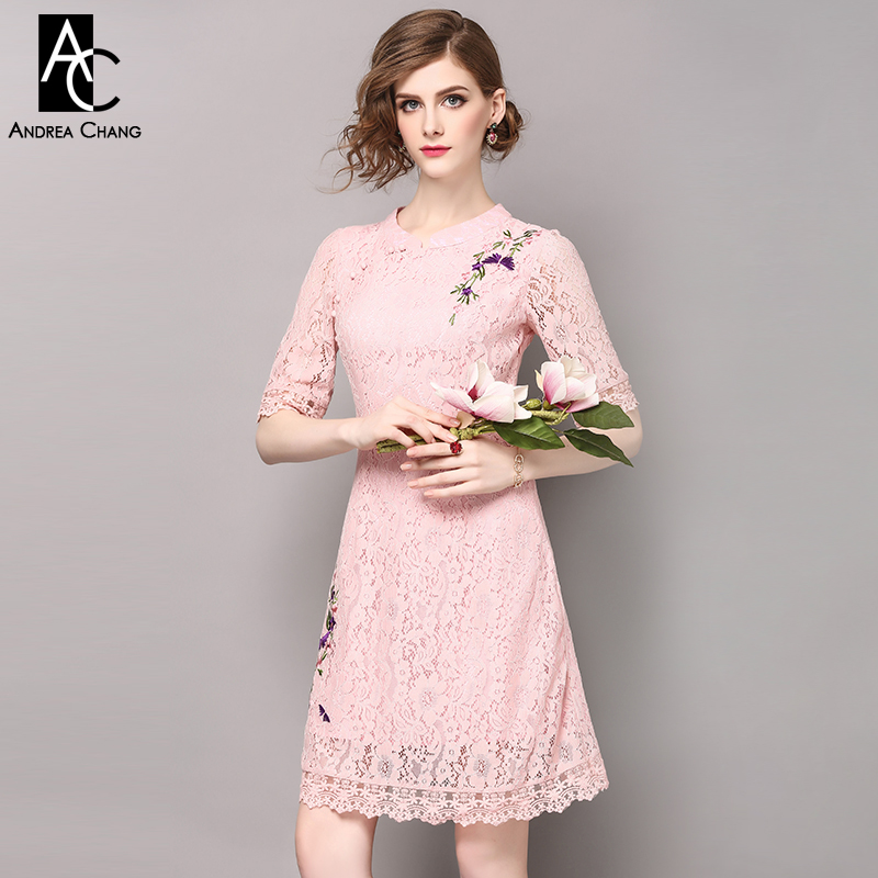 Printemps été piste designer femmes robes blanc rose dentelle robe violet fleur broderie épaule mode vintage dentelle robe