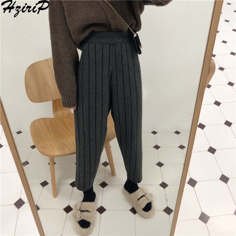 HziriP Fashion High Waist   Wide     Leg     Pants   Women 2019 New Spring Autumn   Pants   Loose Striped Casual All-Match Trousers Clothing