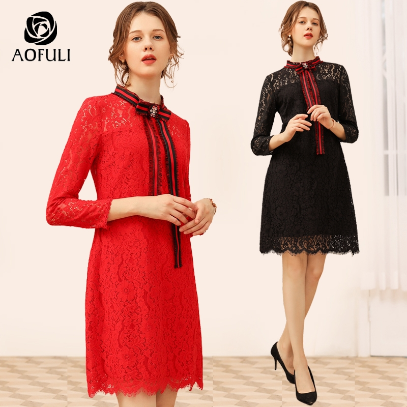 AOFULI Bow Tie Women Lace Dress Long Sleeve Spring Knee Length Dress Big Size Lady Clothing