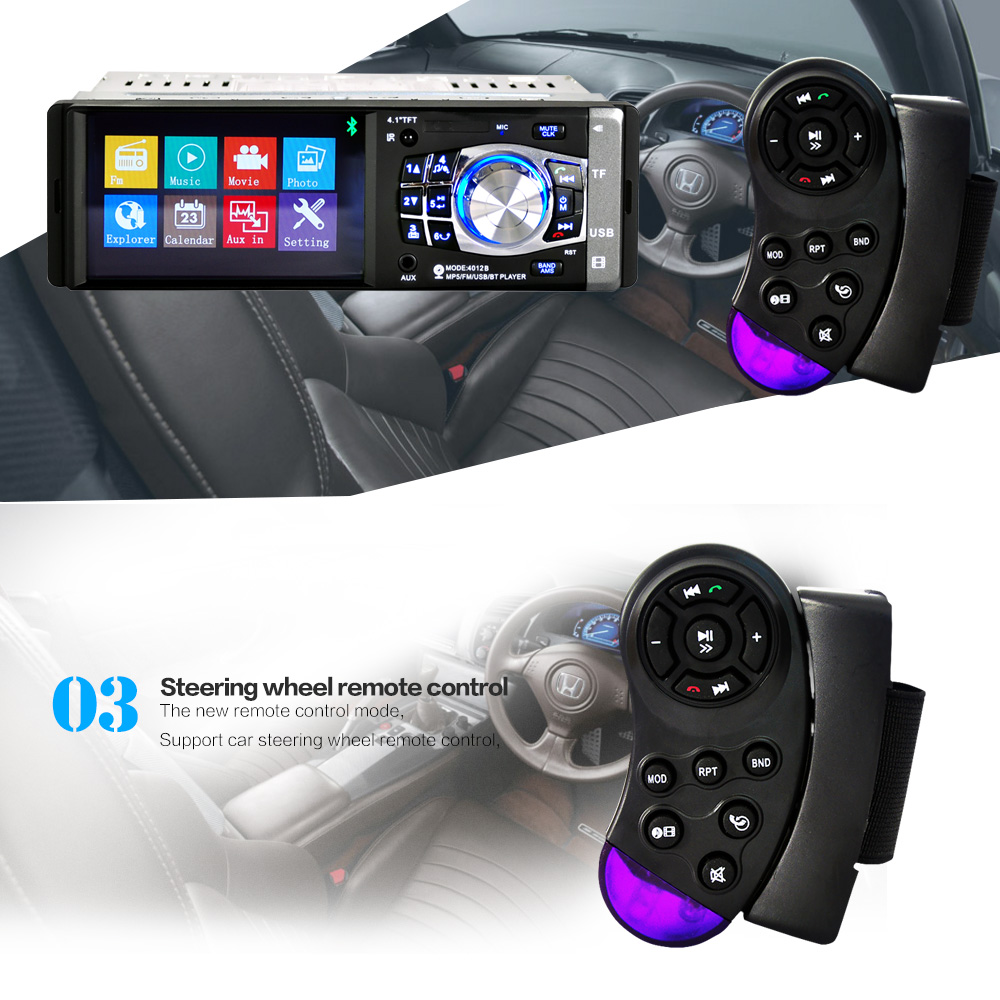 New 4.1'' inch TFT screen Car radio bluetooth player MP3 MP5 1080P movie12V Car support Rear View Camera FM/USB/SD/MMC 1 Din