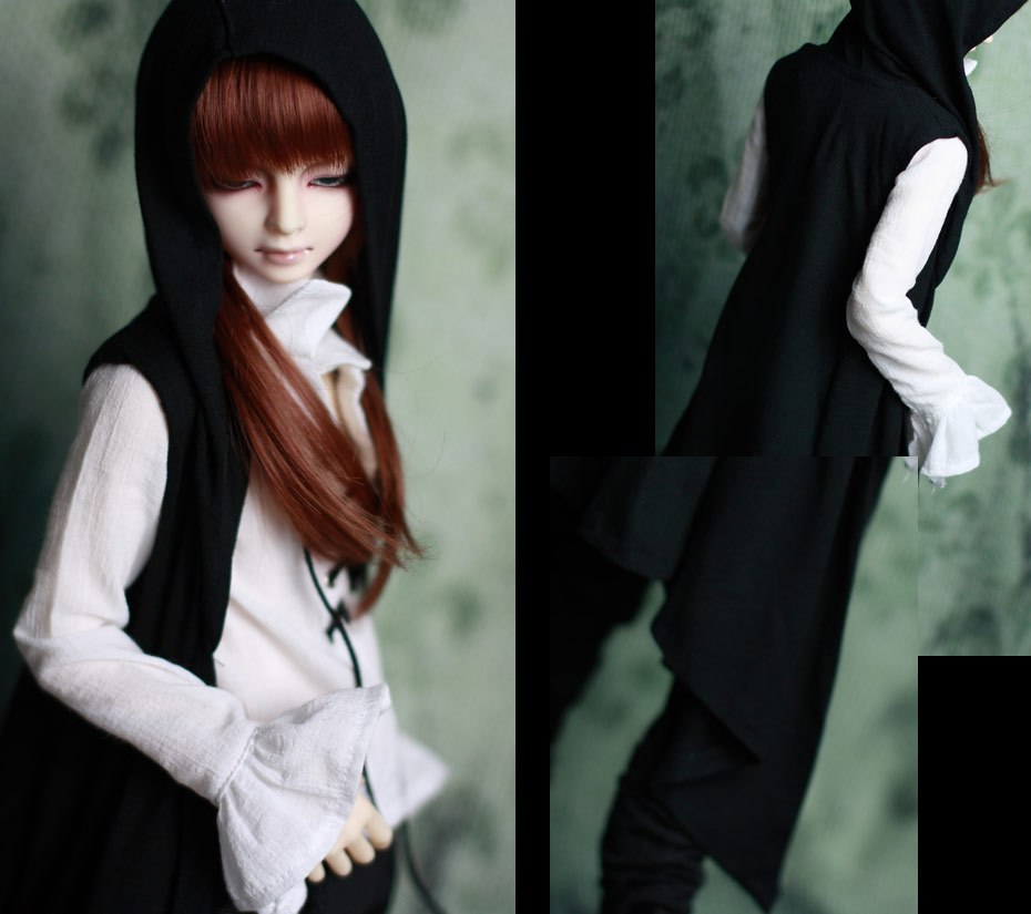 1/3 SD17 uncle BJD SD Doll accessories Bjd clothes black sleeveless  hoodie uncle 1 3 1 4 1 6 doll accessories for bjd sd bjd eyelashes for doll 1 pair tx 03