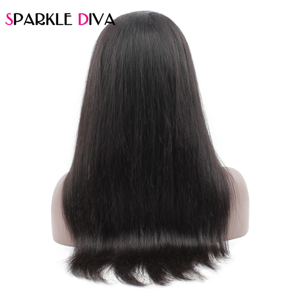 Sparkle Diva Brazilian 360 Lace Frontal Wigs Pre Plucked With Baby Hair Straight Human Hair Wigs For Women 10-22 inch Remy Hair