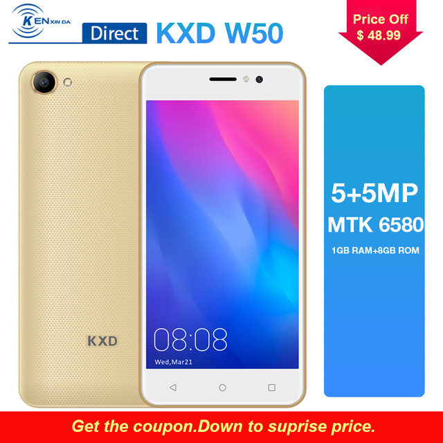 In Stock 3G Unlocked Phone KXD W50 Smartphone 5.0 Inch Android 6.0 Quad Core 1G+8G 2100mAh Mobile Phone Cellphone Celular 5.0MP