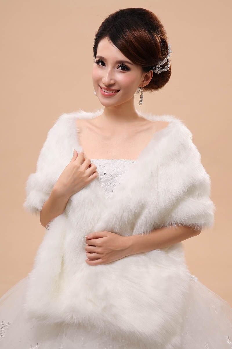 piel falsa de novia abrigo del de hombros del cabo estola del mantn del bolero chaqueta de la capa perfecta de inv