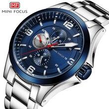 מיני פוקוס קלאסי עסקי גברים שעון קוורץ שעון נירוסטה רצועת הכרונוגרף תכליתי עמיד למים שמלת שעוני יד