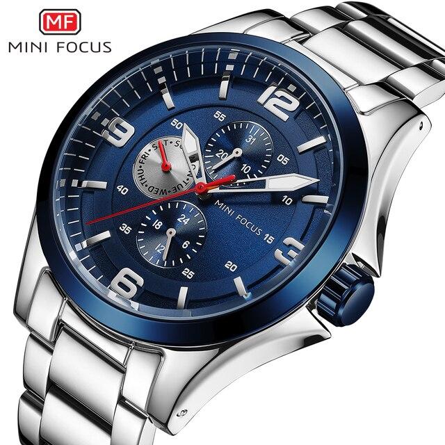 MINI FOCUS كلاسيك رجال الأعمال ساعة كوارتز ساعة الفولاذ المقاوم للصدأ حزام كرونوغراف متعددة الوظائف مقاوم للماء فستان ساعة اليد