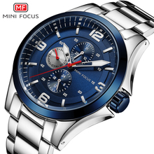 MINI foco clásico de negocios reloj de cuarzo reloj de acero inoxidable Correa cronógrafo multifuncional reloj de pulsera impermeable