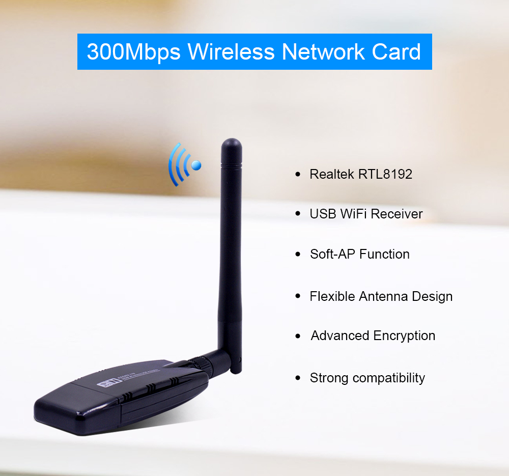 CHIPAL 300Mbps Wireless Network Card RTL8192 USB WiFi Adapter 802 11