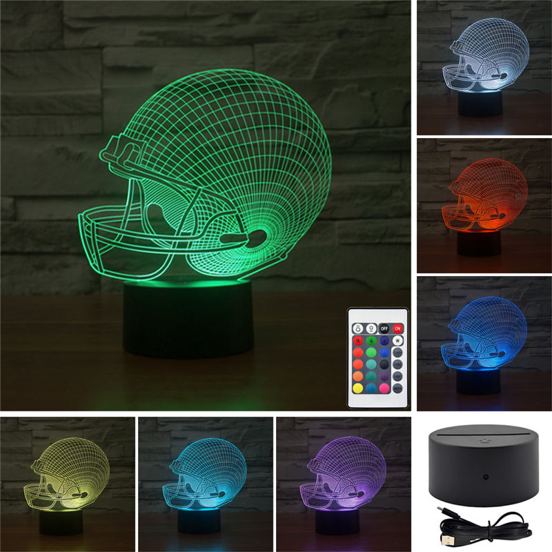 AUCD Remote Football Helmet Colorful Sport Patterns Acrylic Touch Table Lights Home Art Decor 3D Visual USB LED Desk LampsTD58