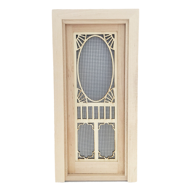 1 12 Dollhouse Miniature Wood Single Screen Door Can Be Painted