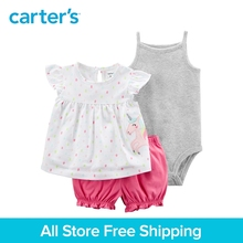 3pcs unicorn top striped bodysuit ruffle diaper cover clothing sets Carter's baby Girl soft cotton Summer 121I405
