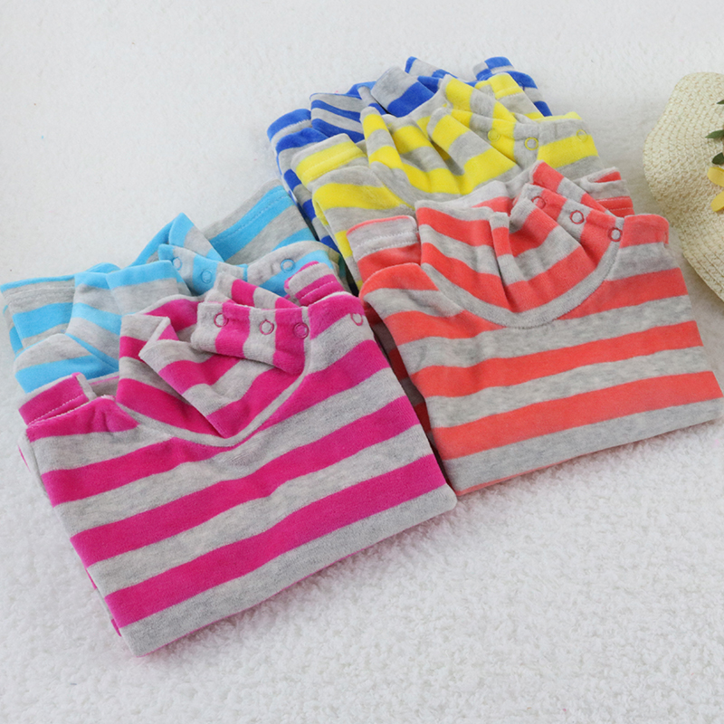 Little Q baby turtle neck velour blouse 5 pcs/lot striped spring and autumn unisex shirts kids long sleeve rivets button clothes