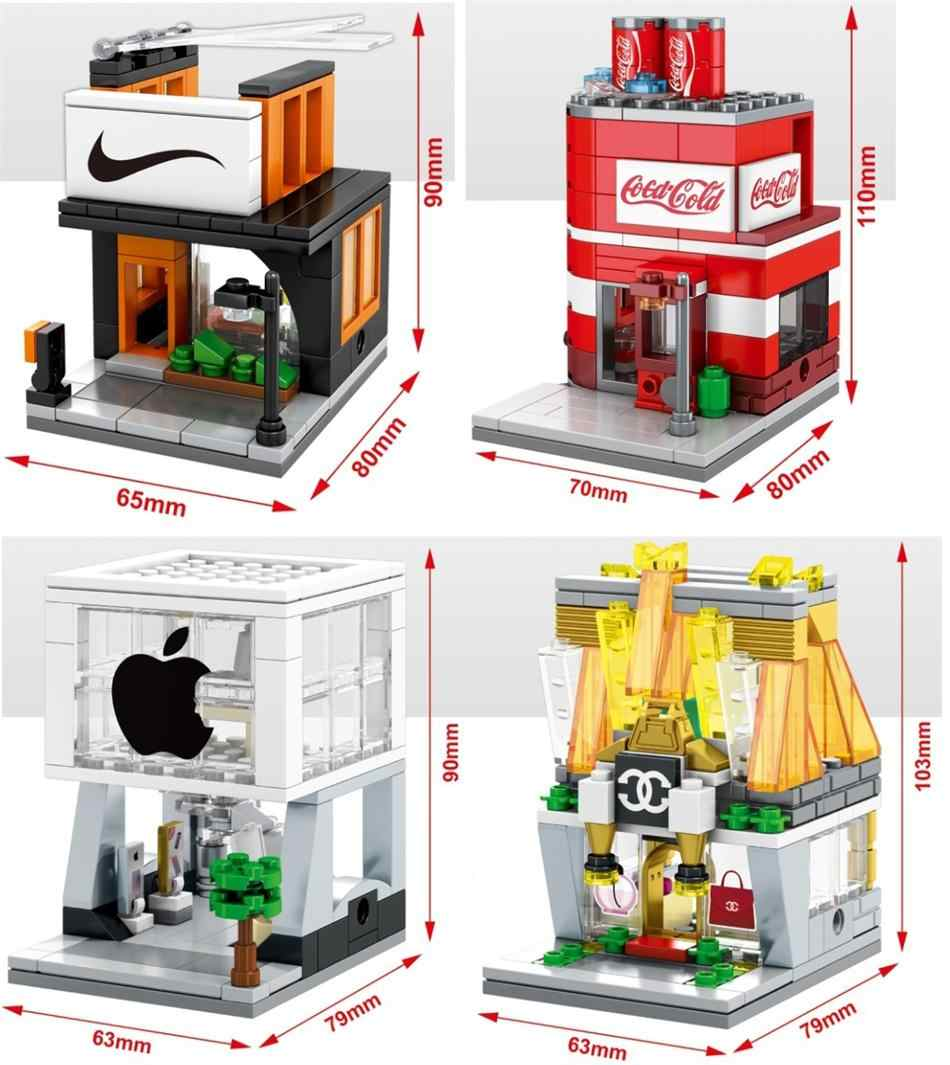 SEMBO Blocks Mini Street Store Building Bricks Cute Micro Shop Model Ice Cream Educational Kids toys Children Gifts Christmas