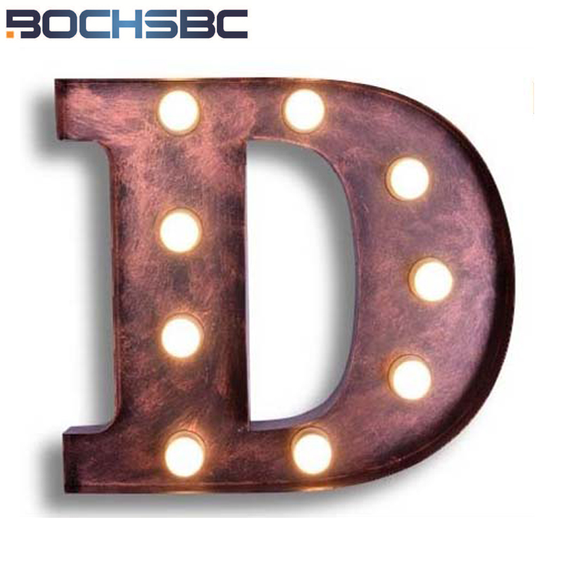 BOCHSBC Metal Letters D Wall Lights Art Deco Wall Sconces Lamp Vintage Iron LED Lamp for Living Room Study Clothing Store Lampe