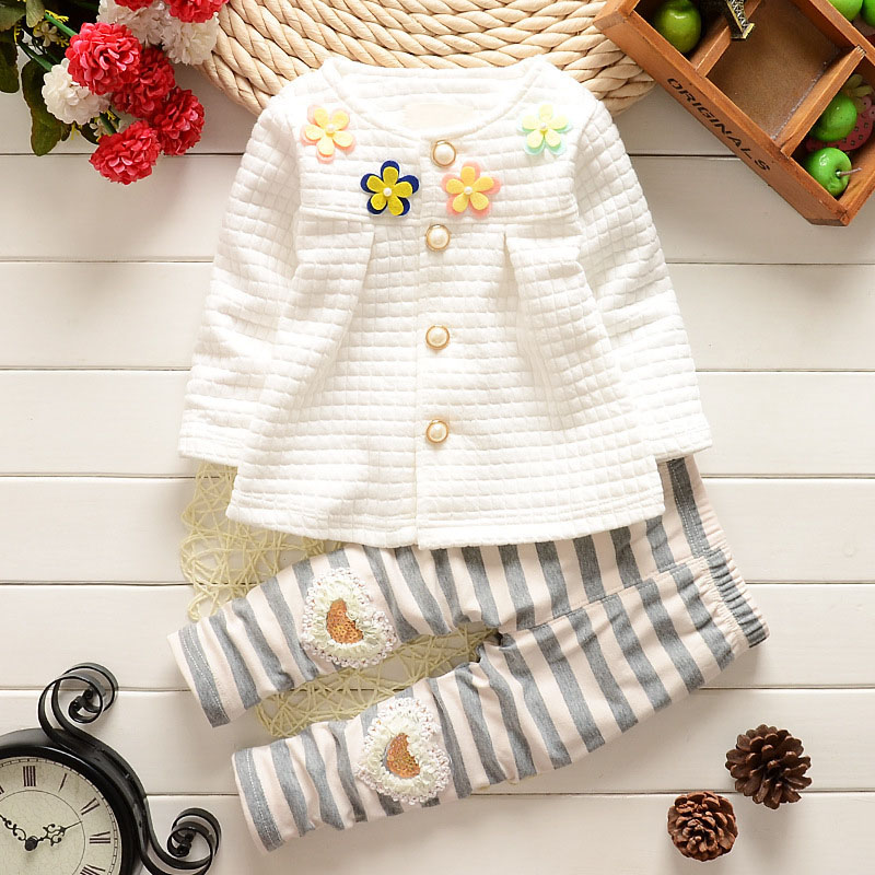 Baby Girl Clothes Baby Girls Floral Long Sleeve T-shirt Pants 2PCS Outfits Kids Bebes Jogging Suits Roupa De Bebes Menina 2pcs children outfit clothes kids baby girl off shoulder cotton ruffled sleeve tops striped t shirt blue denim jeans sunsuit set
