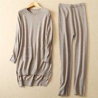 Новые модные Коза кашемир толстой вязки женские длинный пуловер свитер платье Штаны Twinset 2 цвета S/98 m/102