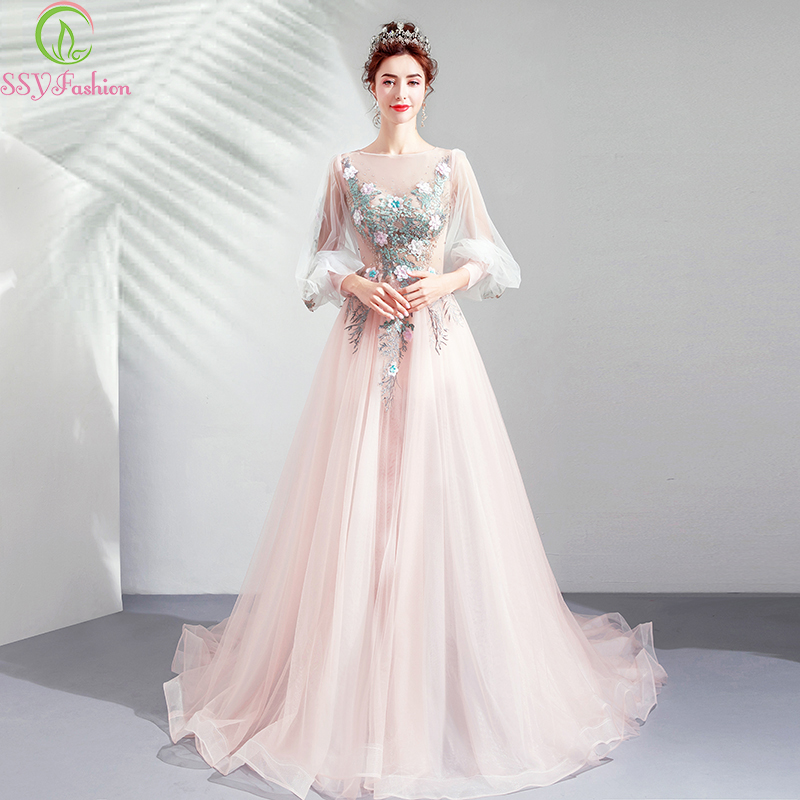 SSYFashion New Sweet Pink Evening Dress Lace Appliques Sweep Train 3/4 Sleeve Formal Prom Gowns Robe De Soiree