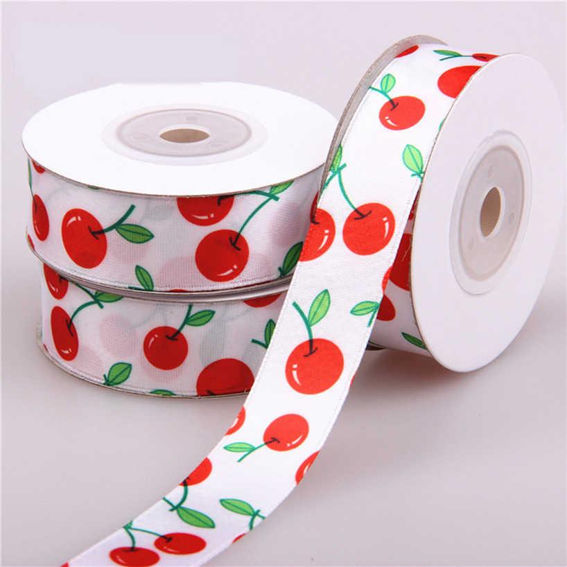 """10 เมตร (12 หลา) ผ้าไหมซาตินริบบิ้น 4/5 """"(2 เซนติเมตร) เชอร์รี่พิมพ์ริบบิ้นผ้าไหมพรรคบ้านตกแต่งงานแต่งงานห่อของขวัญ"""
