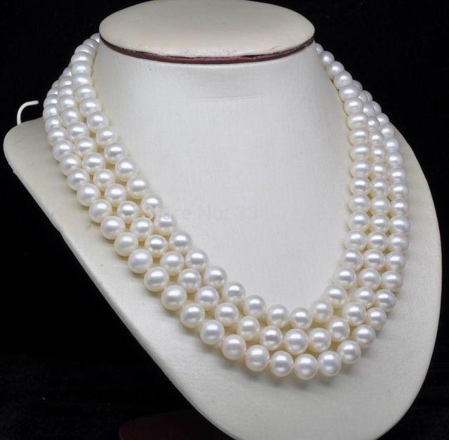 "Encanto de plata accesorio brilló> Triple Strand AAA + 6-7 MM blanco perla collar de 18 ""19"" 20"""