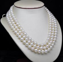 "Acessório charme prata brilhou> Tripla Vertente AAA + 6-7 MM branco pérola colar de 18 ""19"" 20 ""jóia da Forma da menina"