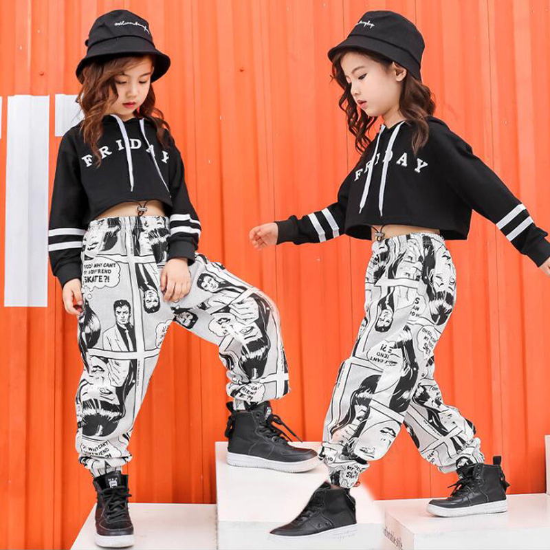 Girls Jazz Modern Dancing Costumes Clothing Suits Kids Children's Hip Hop Dance Wear Outfits Stage Wear Performance Clothes Suit