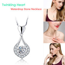 Necklace Women Silver Necklaces Luxurious Twinkling Heart Waterdrop Stone Pendants  fashion jewelry Accessories
