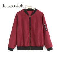 Jocoo Jolee Fashion Bomber Jacket Women Long Sleeve Basic Coats Casual Thin Slim Outerwear Short Jackets
