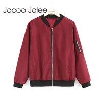 Jocoo Jolee Fashion Bomber Jacket Women Long Sleeve Basic Coats Casual Thin Slim Outerwear Short Jackets